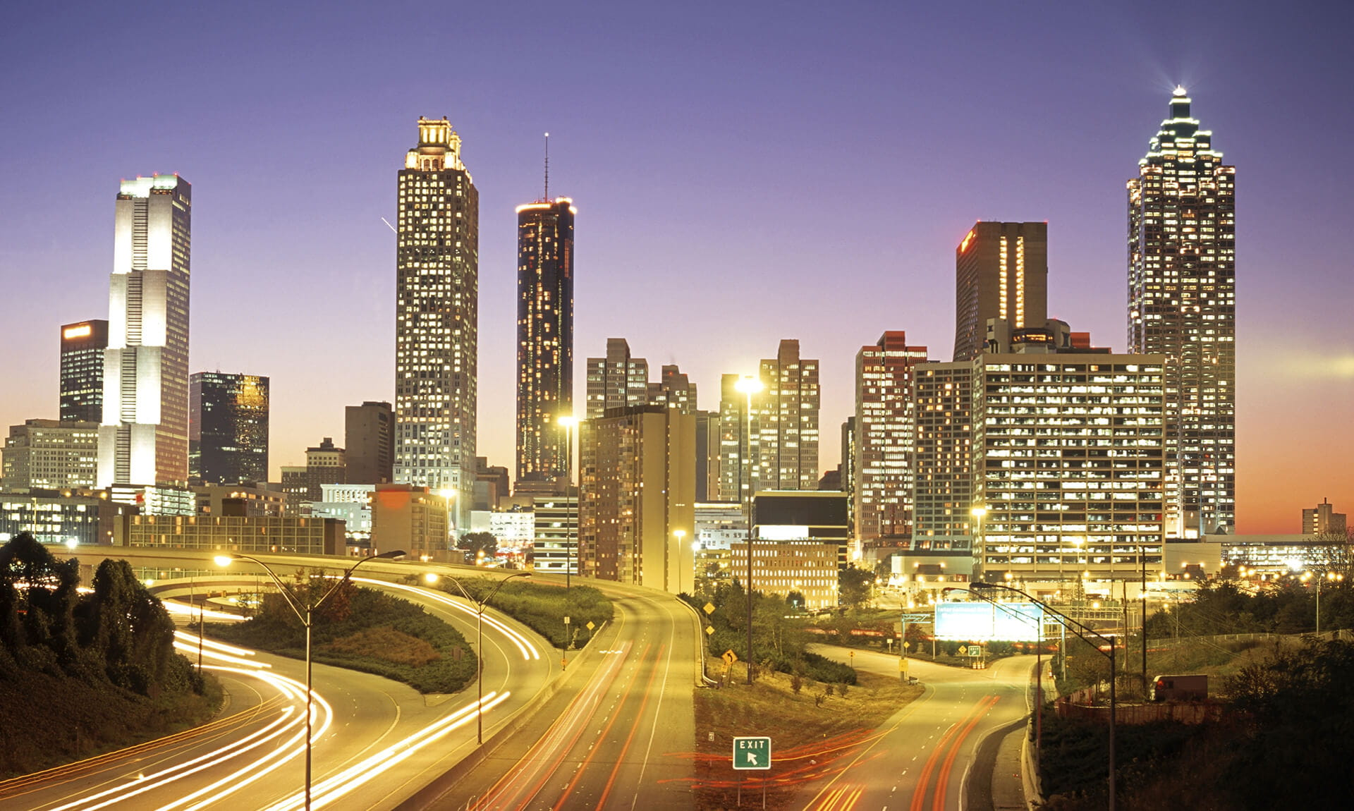 Atlanta Interstate Skyline at Night