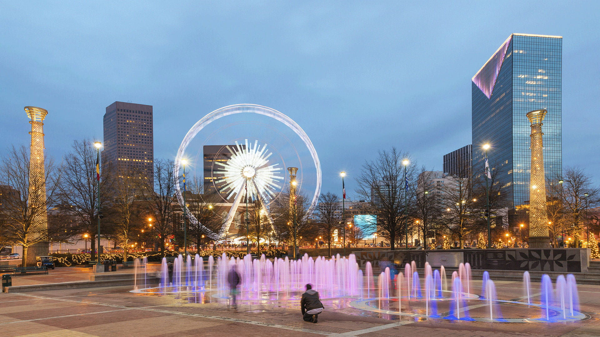Atlanta Floor Fountains with Neon Lights