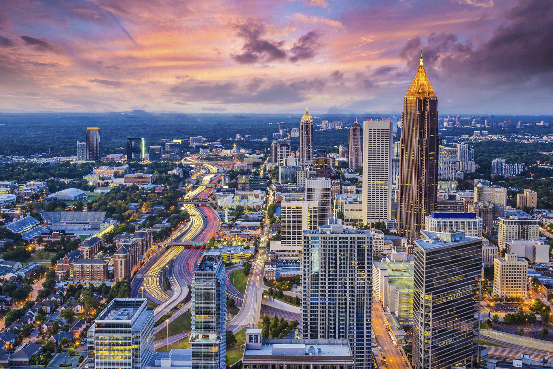 Aerial view of Atlanta at Dawn