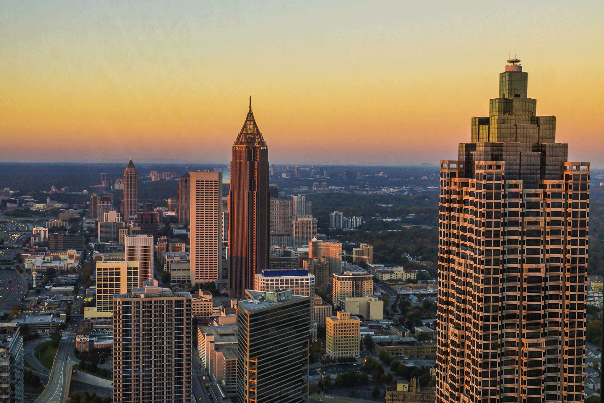 Aerial view of Atlanta at Sunset