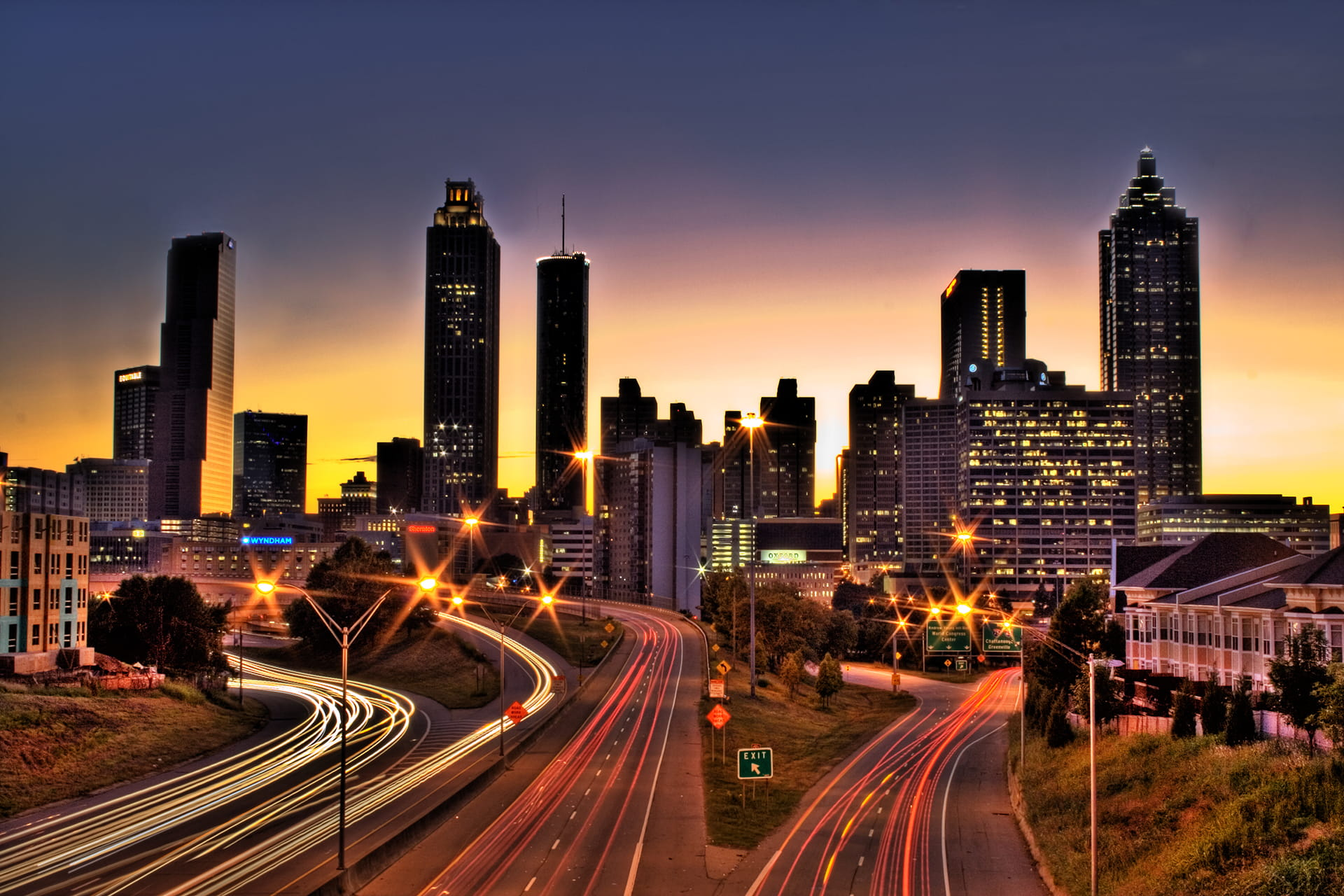 Atlanta Fast Traffic Skyline at Sunset