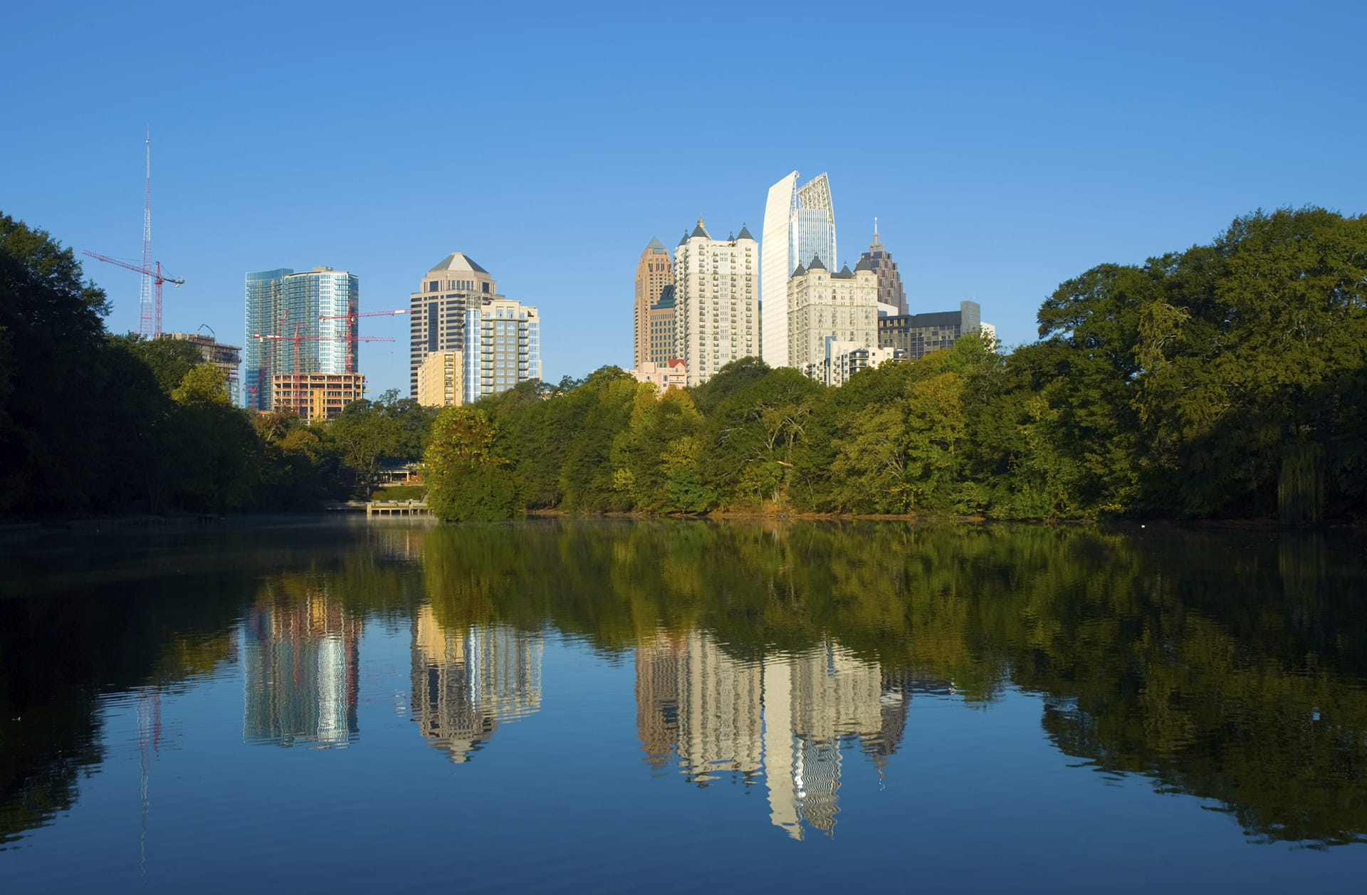 Midtown Atlanta skyline water reflections