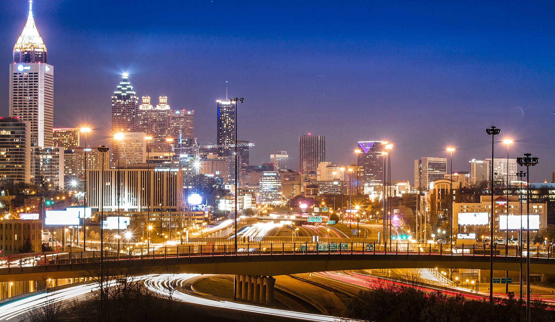 Downtown Atlanta Skyline at Night
