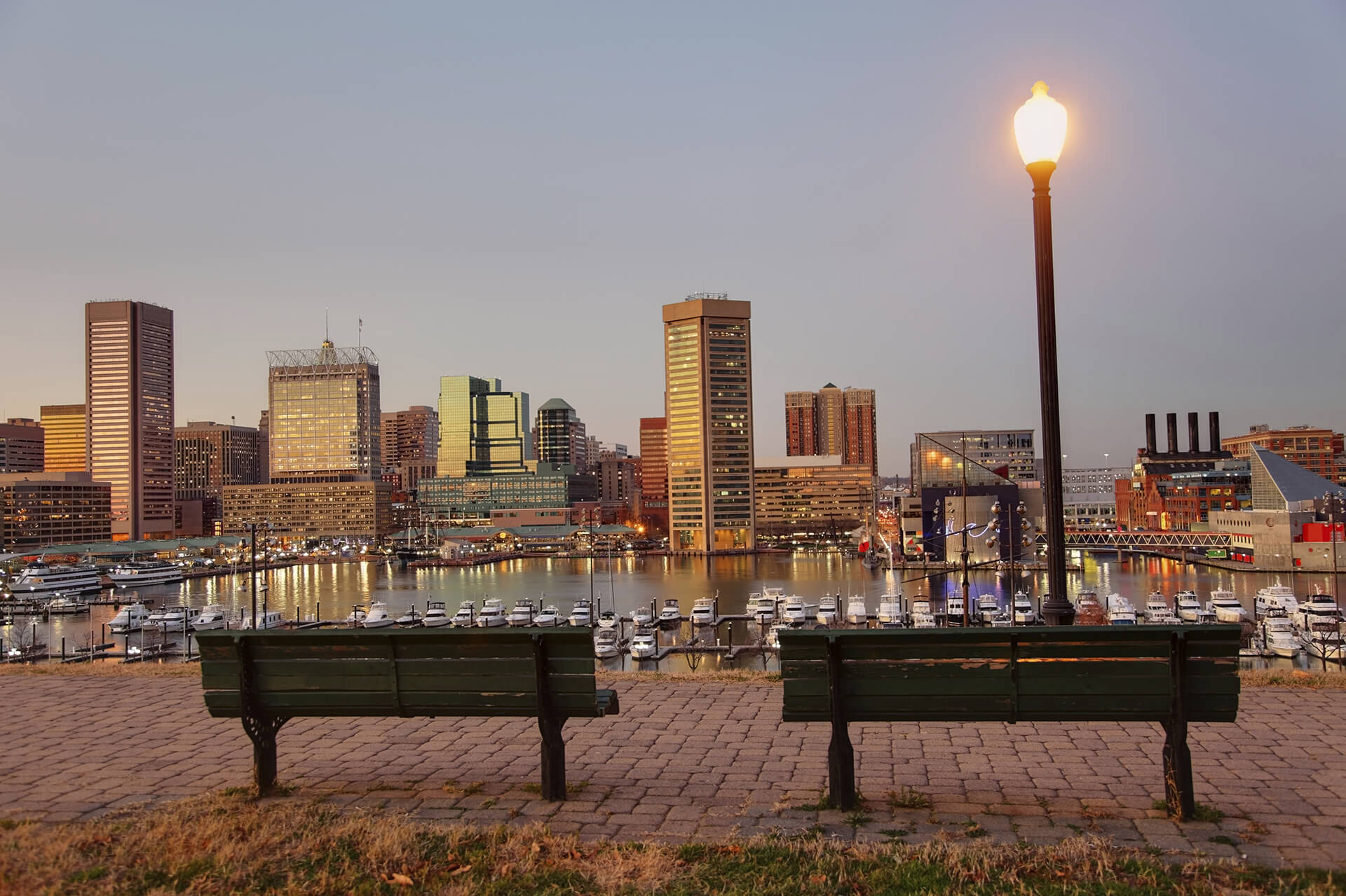 Baltimore Inner Harbor Cityscape at Dawn