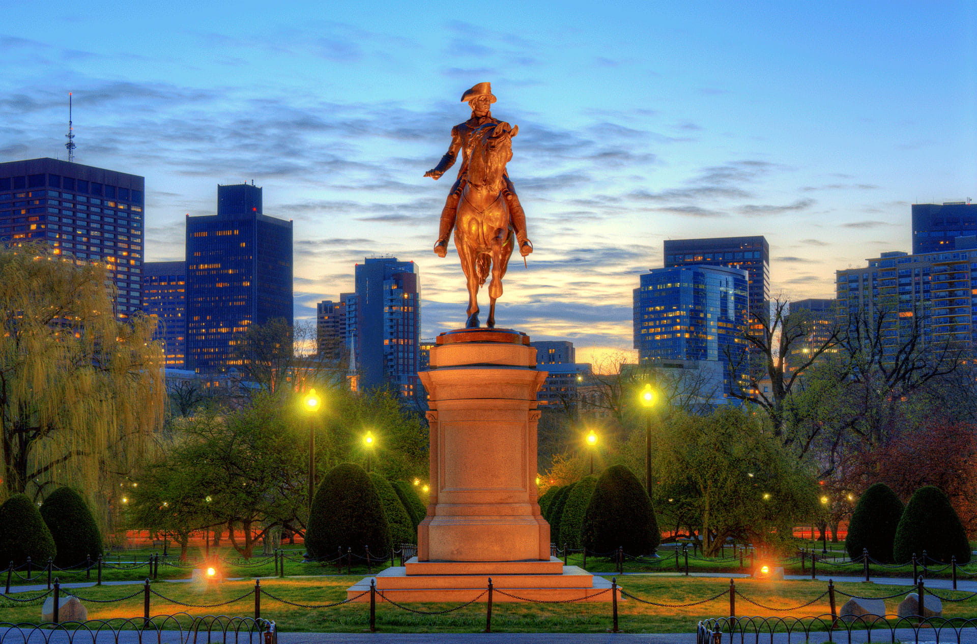 George Washington statue at sunset