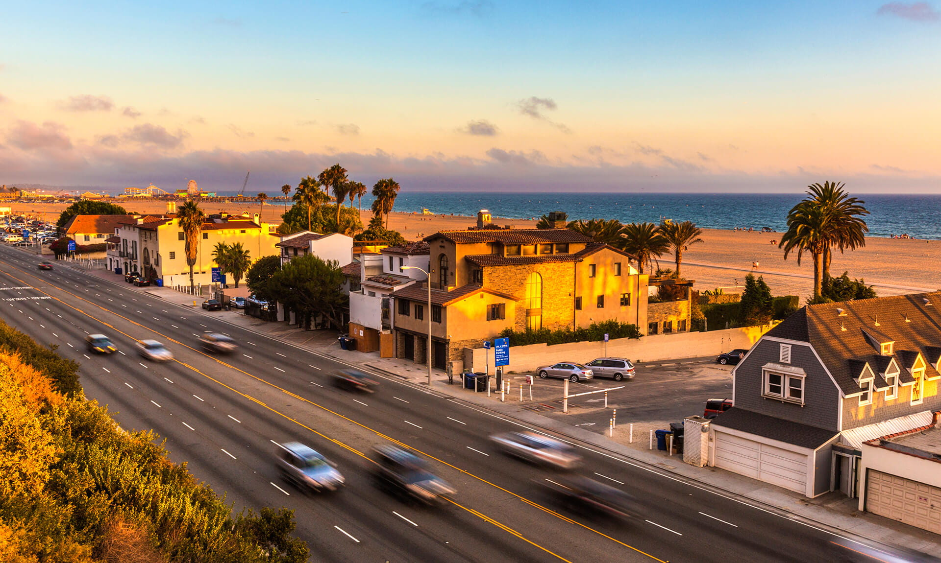 California Beach Road Sunset