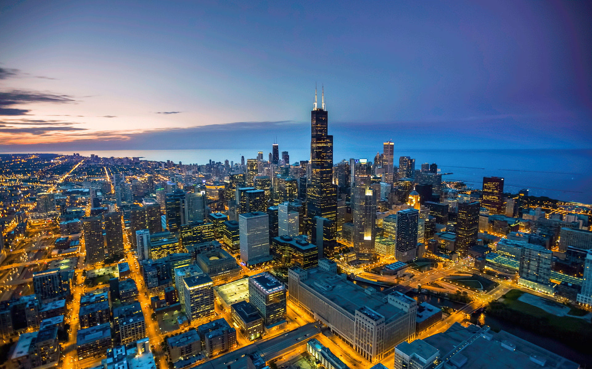 Aerial view of Chicago Skyline at Sunrise