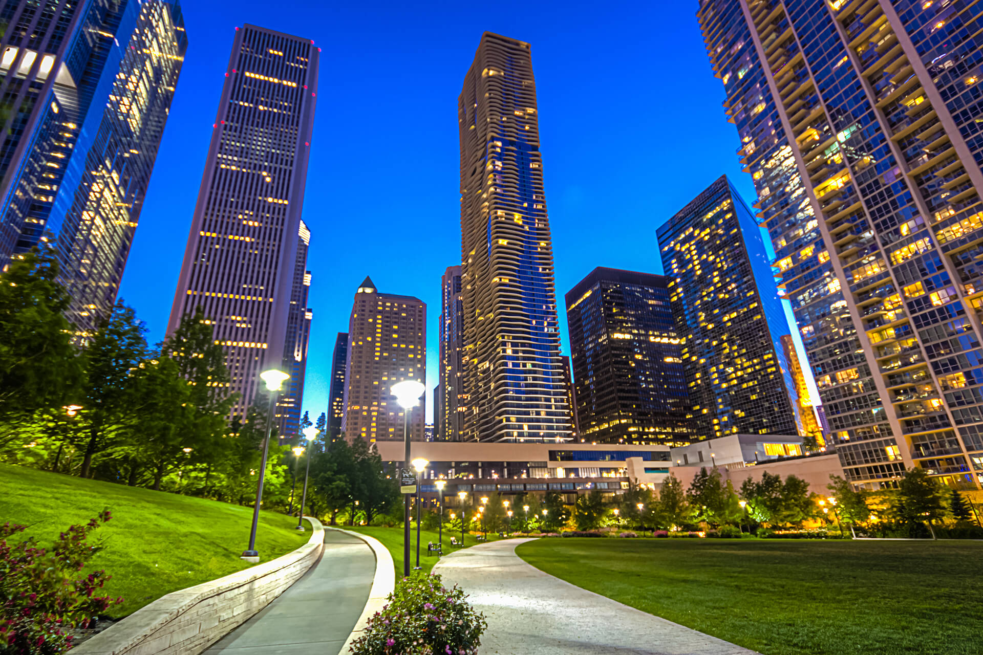 Lakeshore East Park, Chicago at Night