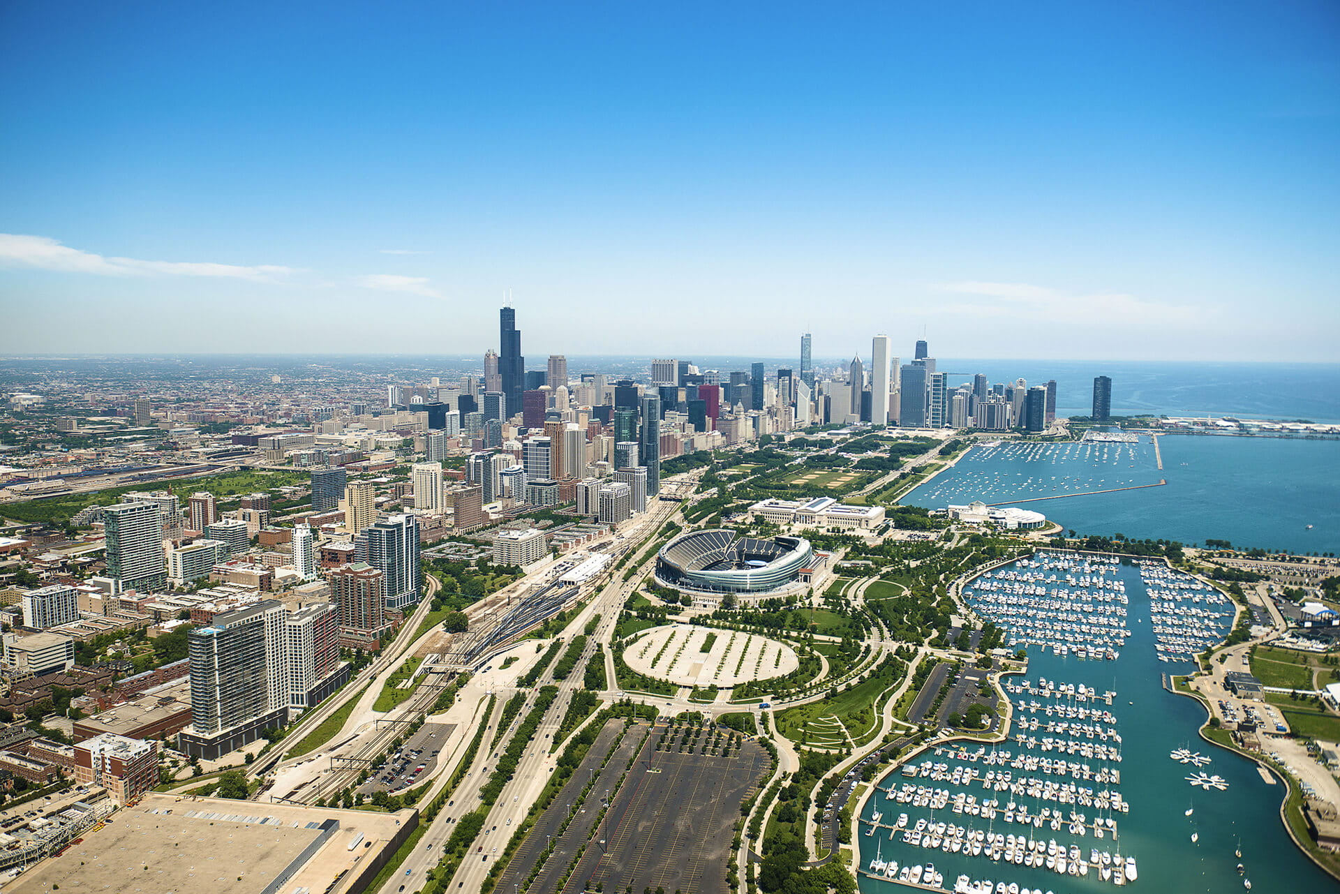Bird's eye view of Chicago Skyline