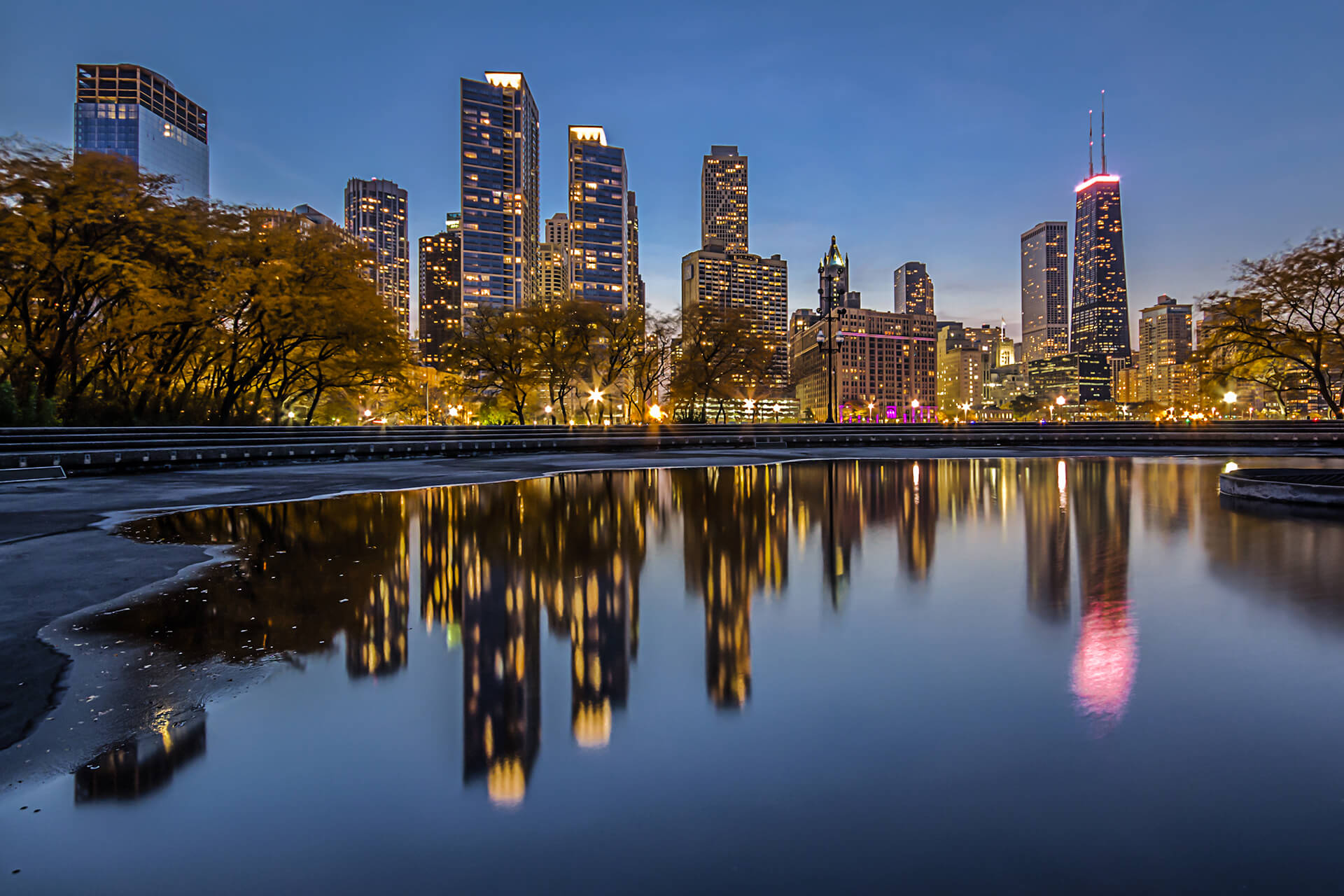 Chicago Skyline Reflected at Night