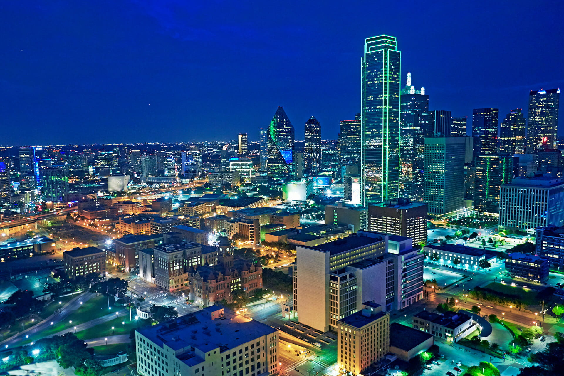 Cityscape of Downtown Dallas at night