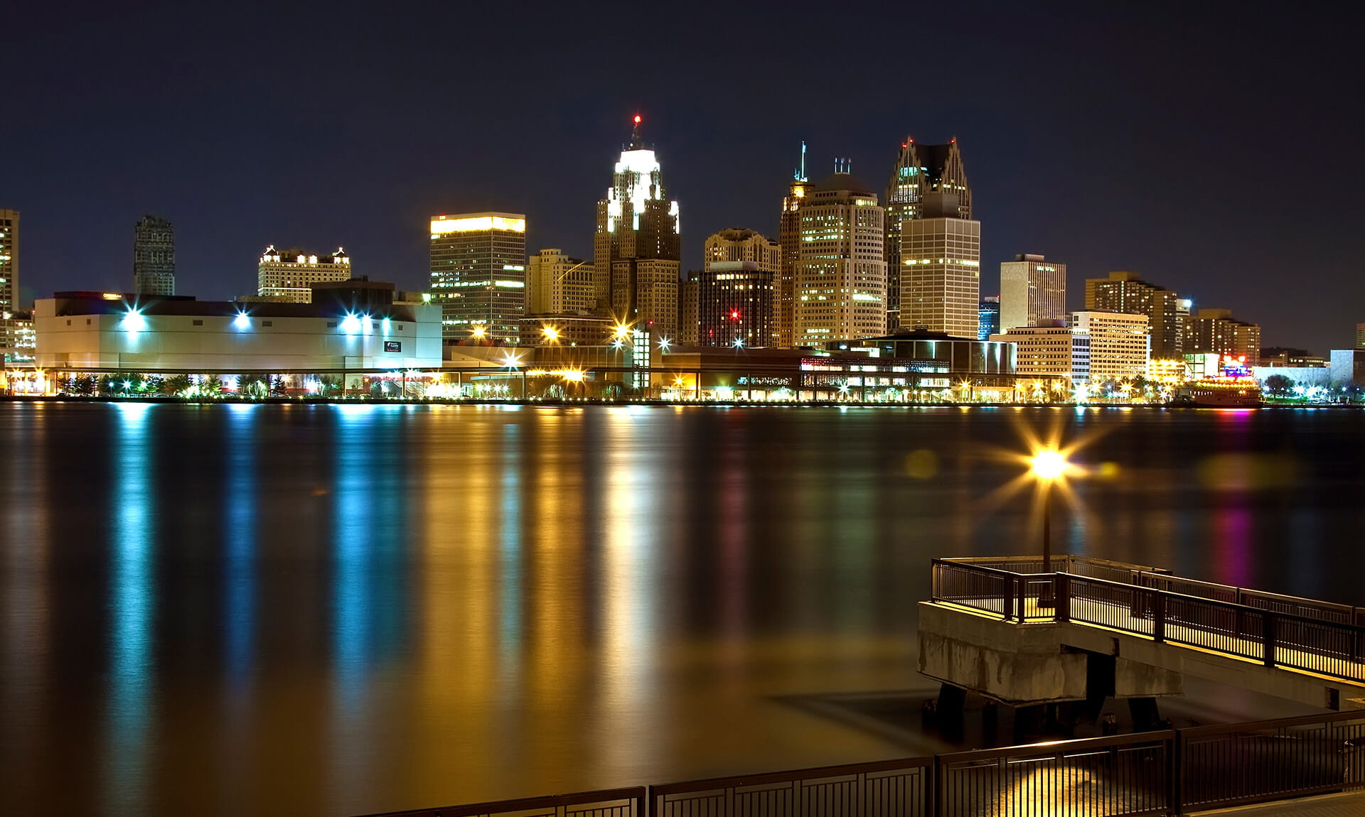 Downtown Detroit Cityscape at Night