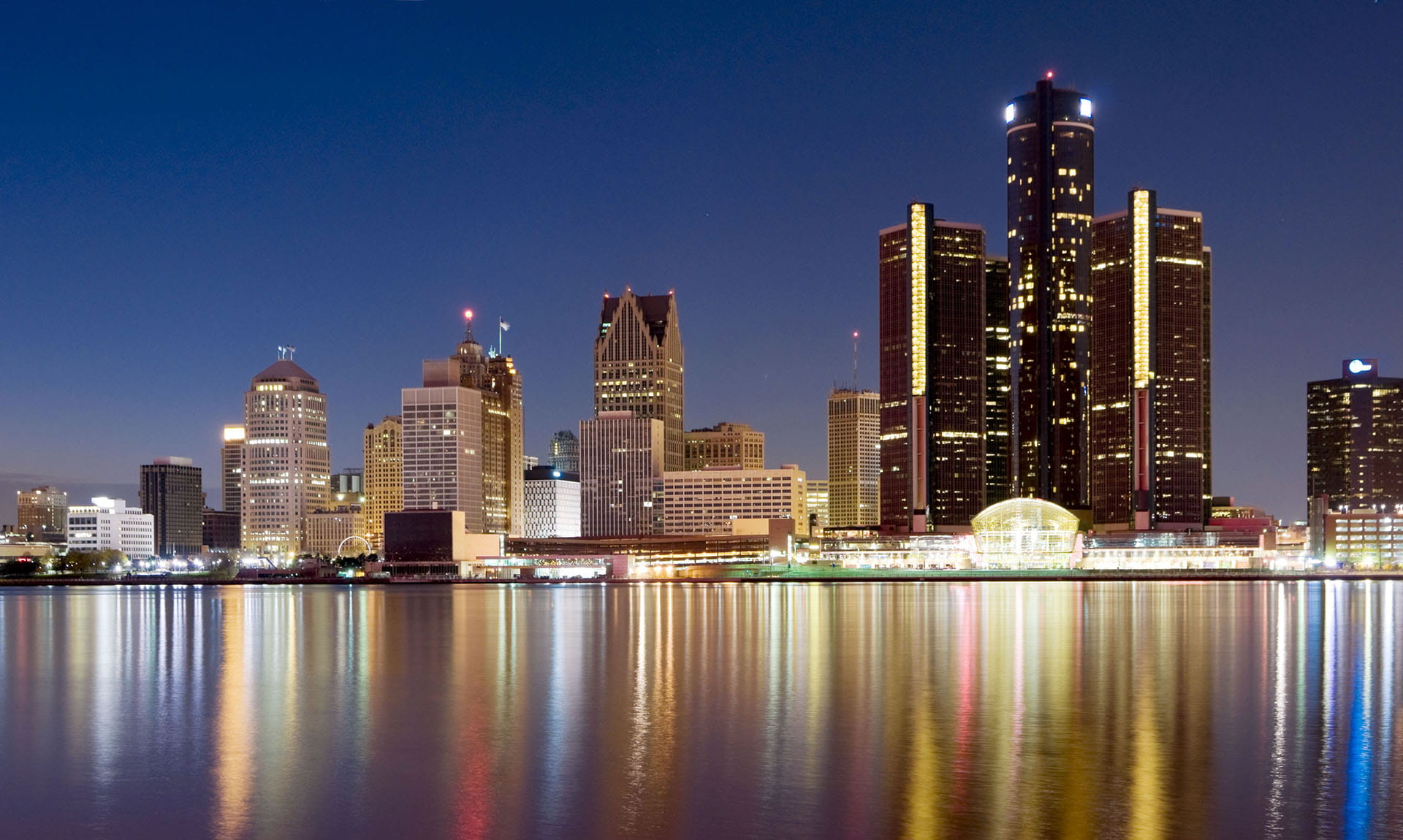 Detroit Cityscape Waterfront Night