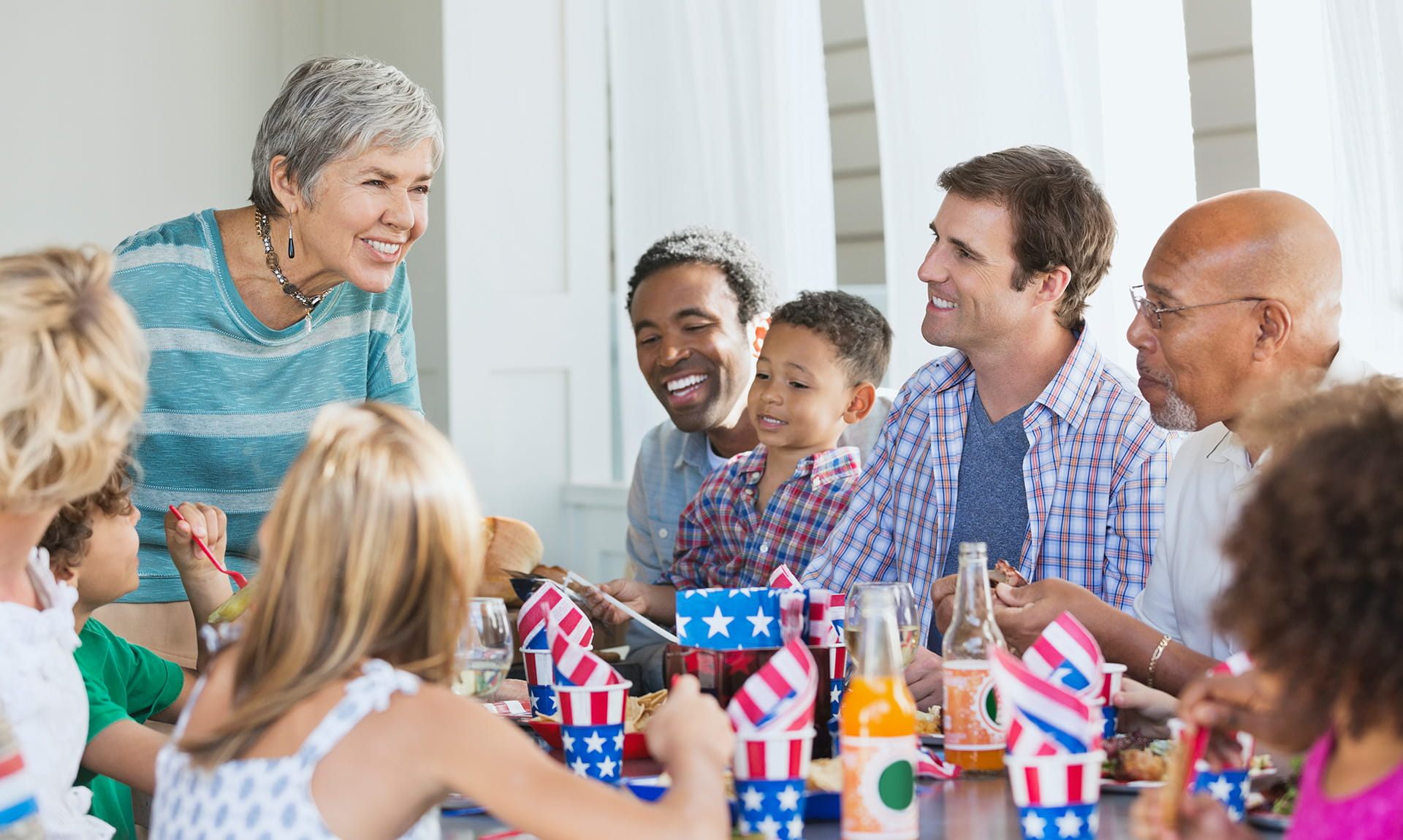 A family celebrating fourth of july
