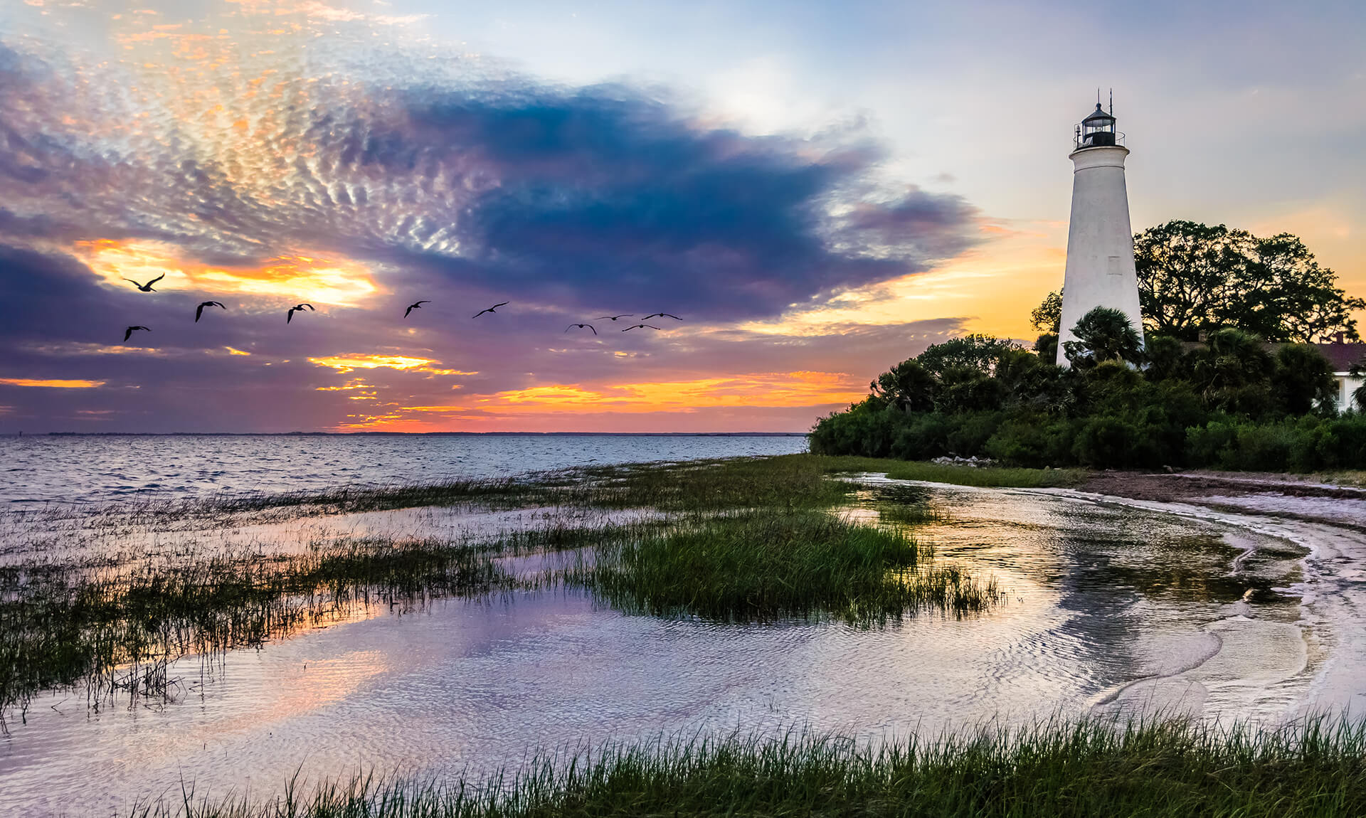Cape Florida Lighthouse Water Ridge at Sunset