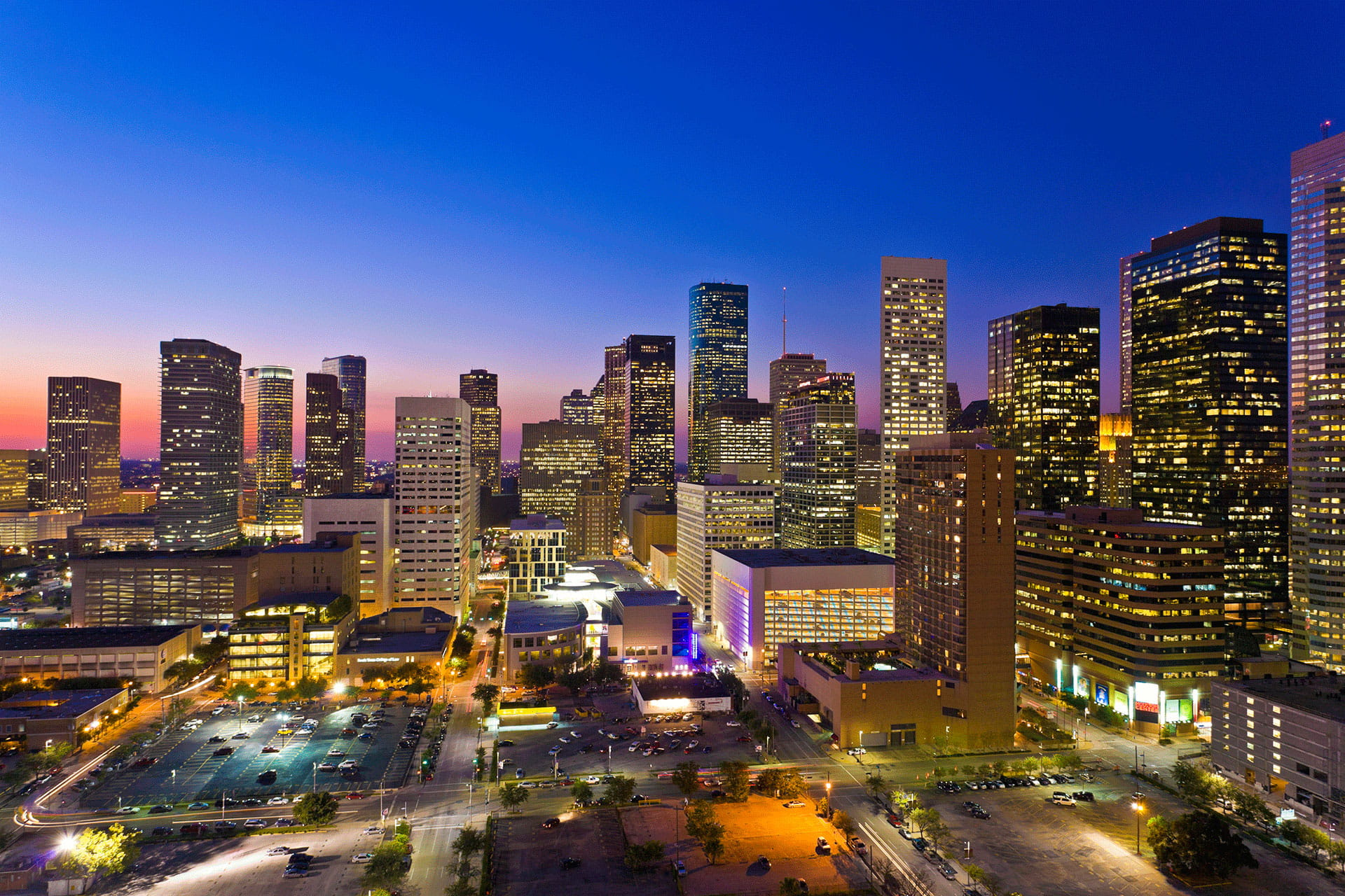 Aerial view of Houston Skyline at Night