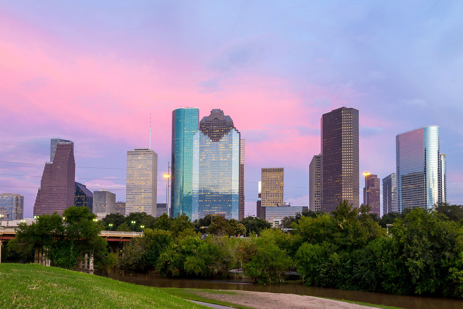 Colorful Skies Houston Skyline from Park