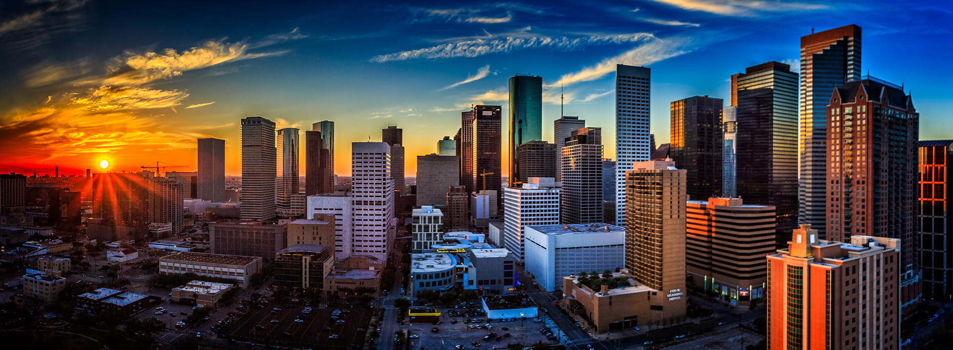 Aerial view of Houston Skyline at Sunset