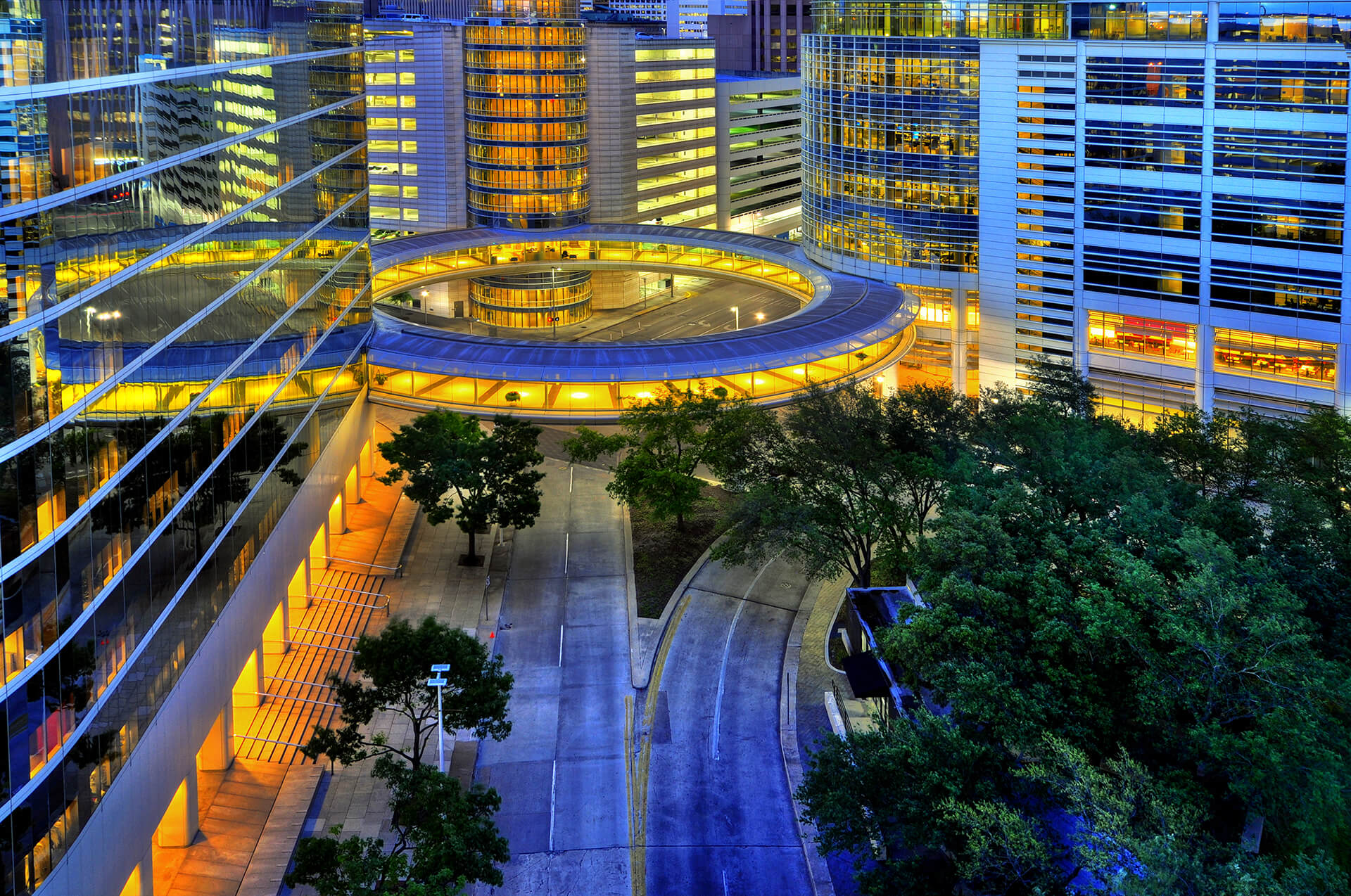 Modern circular architecture, Downtown Houston at night