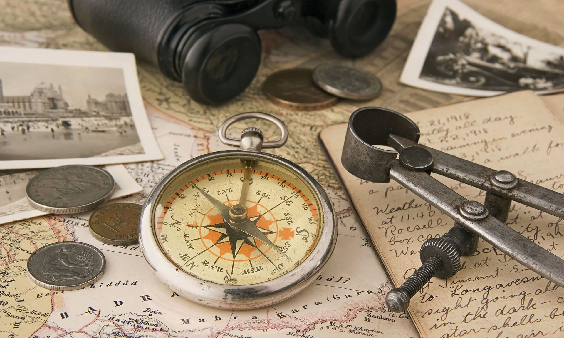 Map coins compass and binoculars