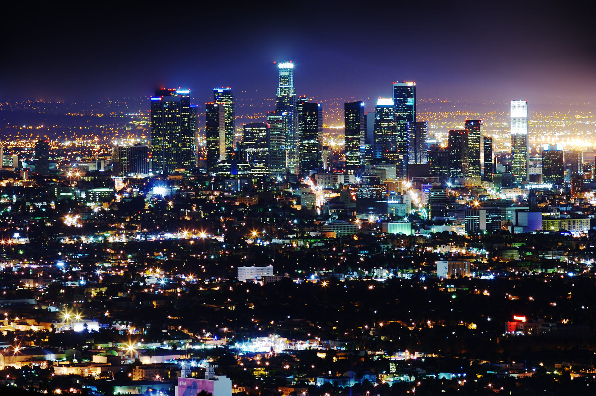 Aerial view of Los Angeles at Night