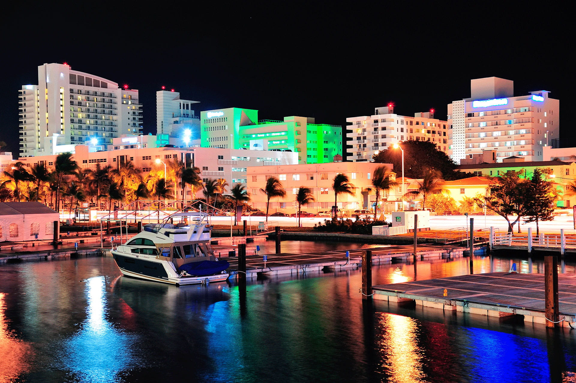 Colorful Miami Skyline at Night
