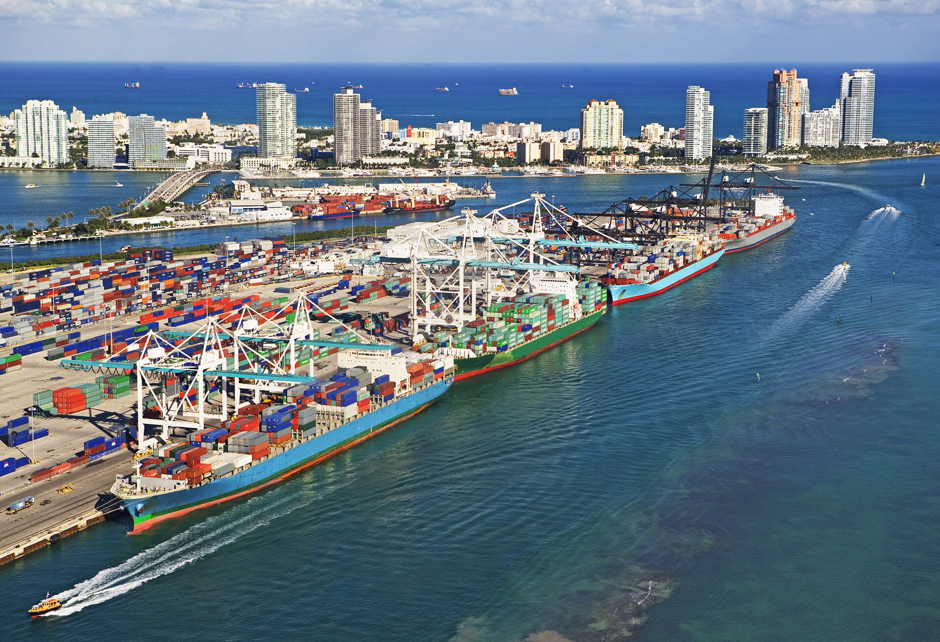 Aerial view of Miami Commercial Dock