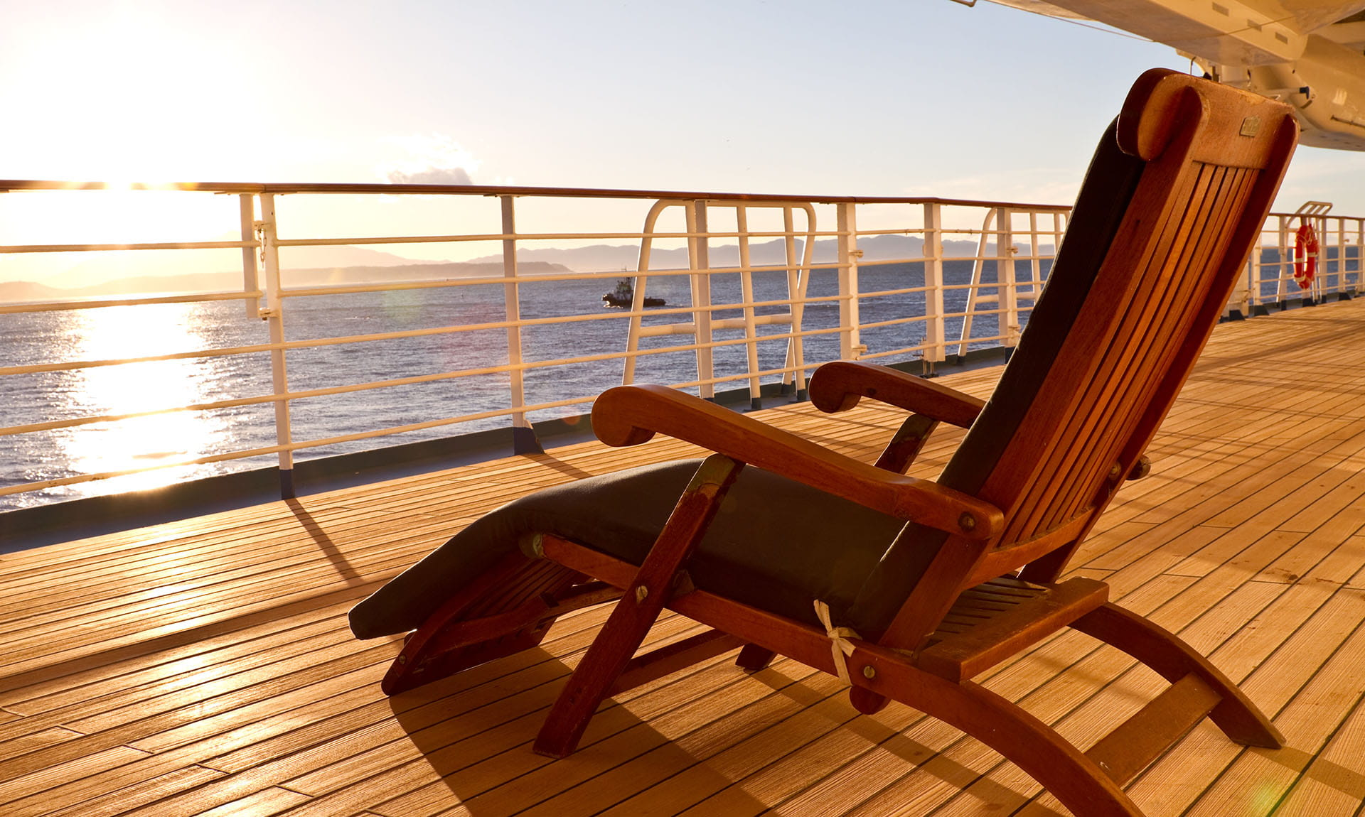 Chair on boat deck