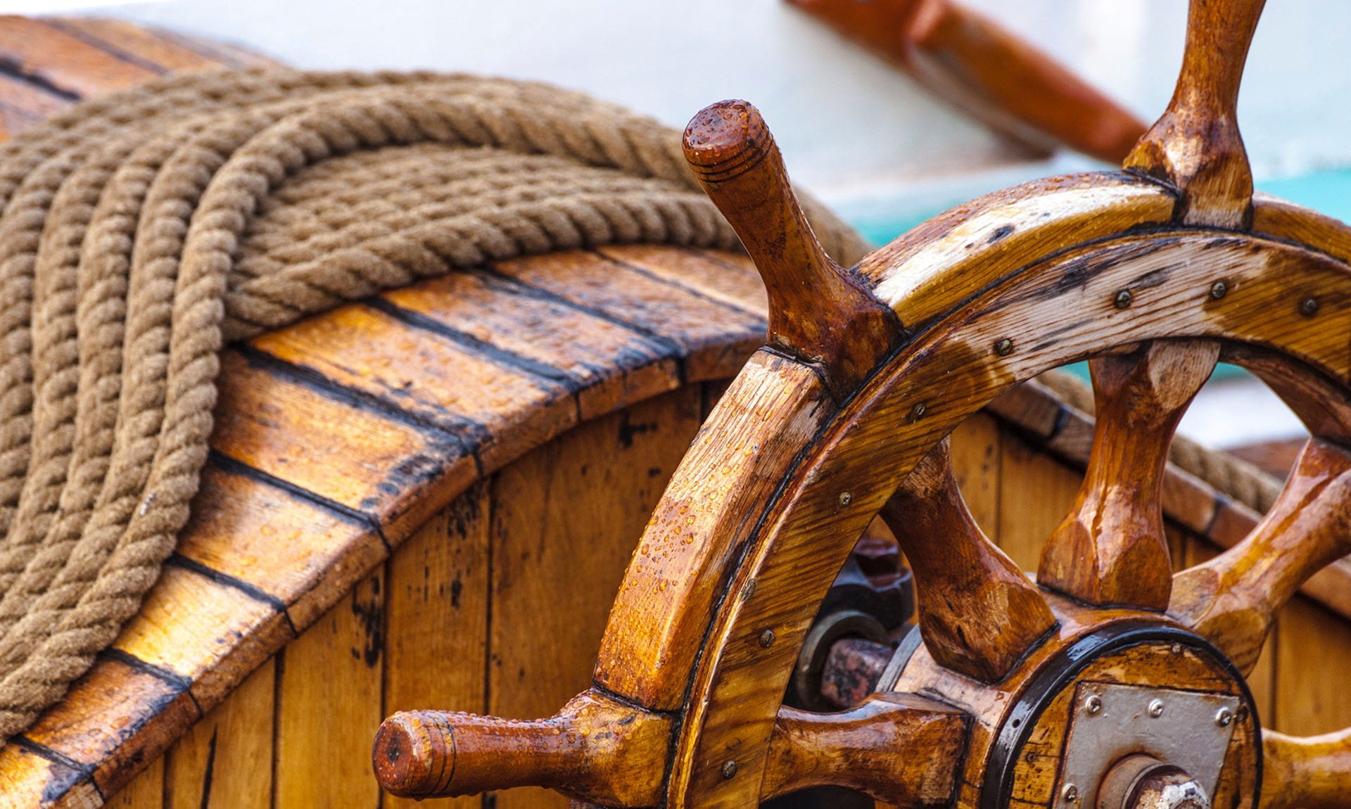 Boat Wheel and Rope