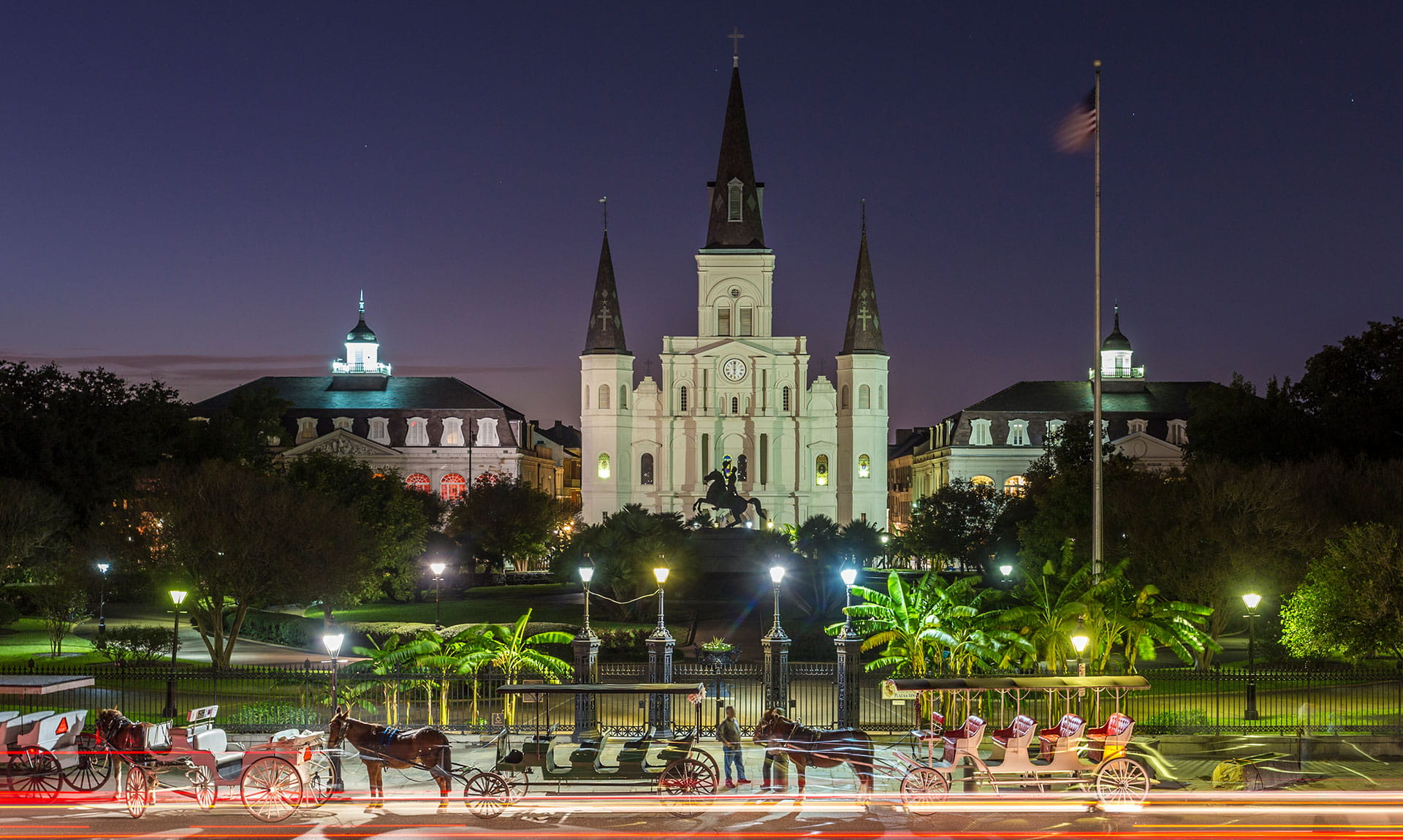 Jackson Square, New Orleans at night