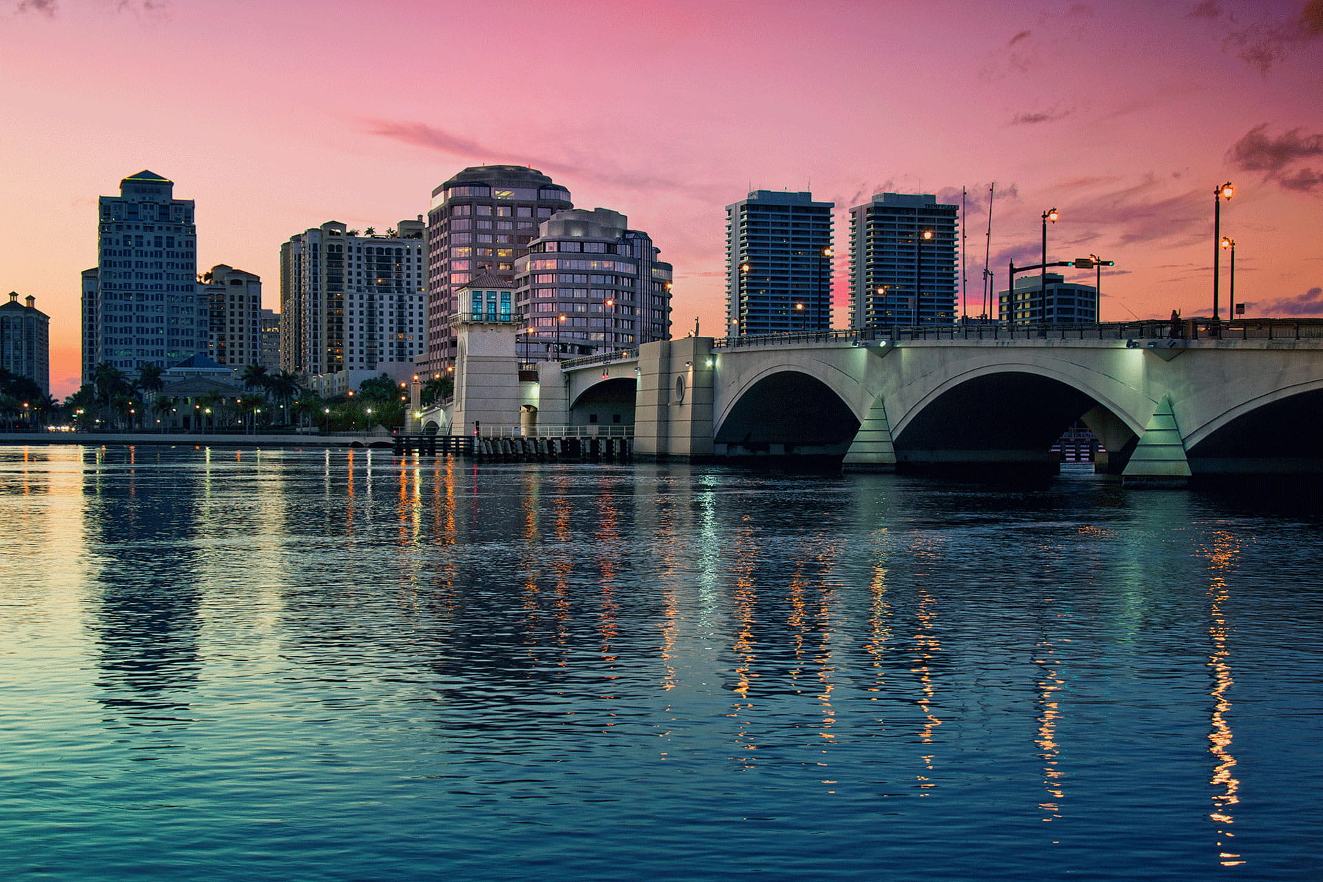 West Palm Beach Skyline Bridge Sunset