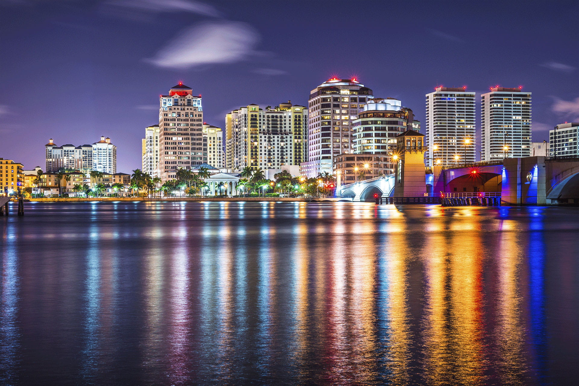 Palm Beach Cityscape Waterfront Night