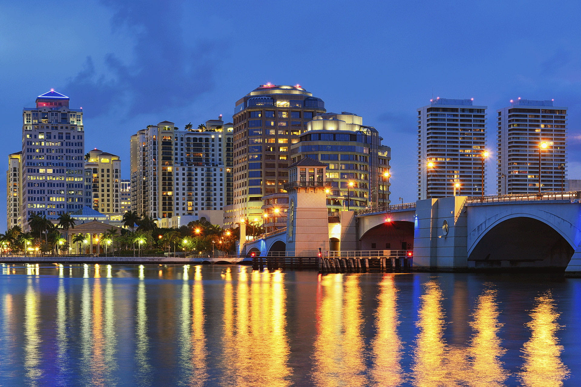 West Palm Beach Skyline Bridge Night