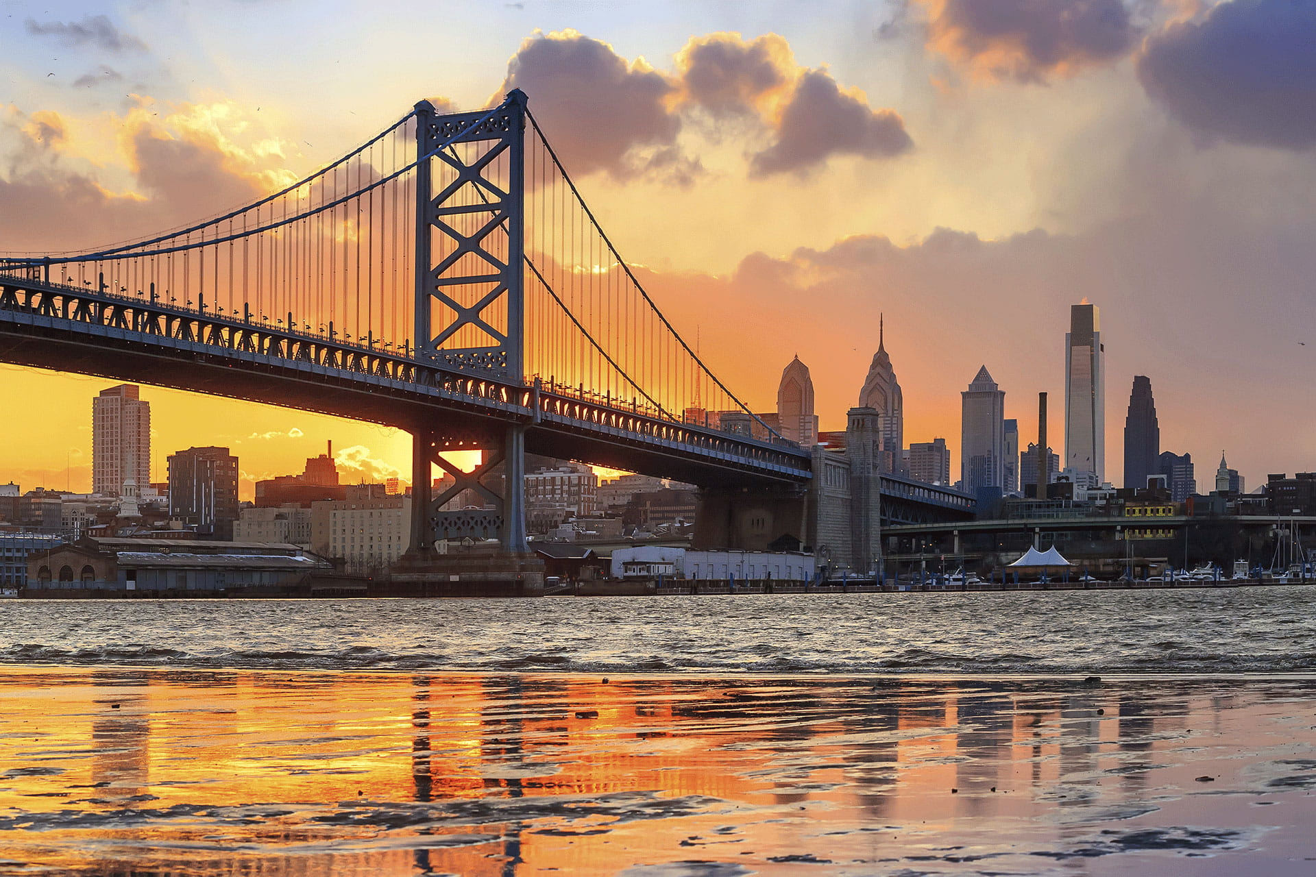Ben Franklin Bridge with Philadelphia Skyline at Sunset