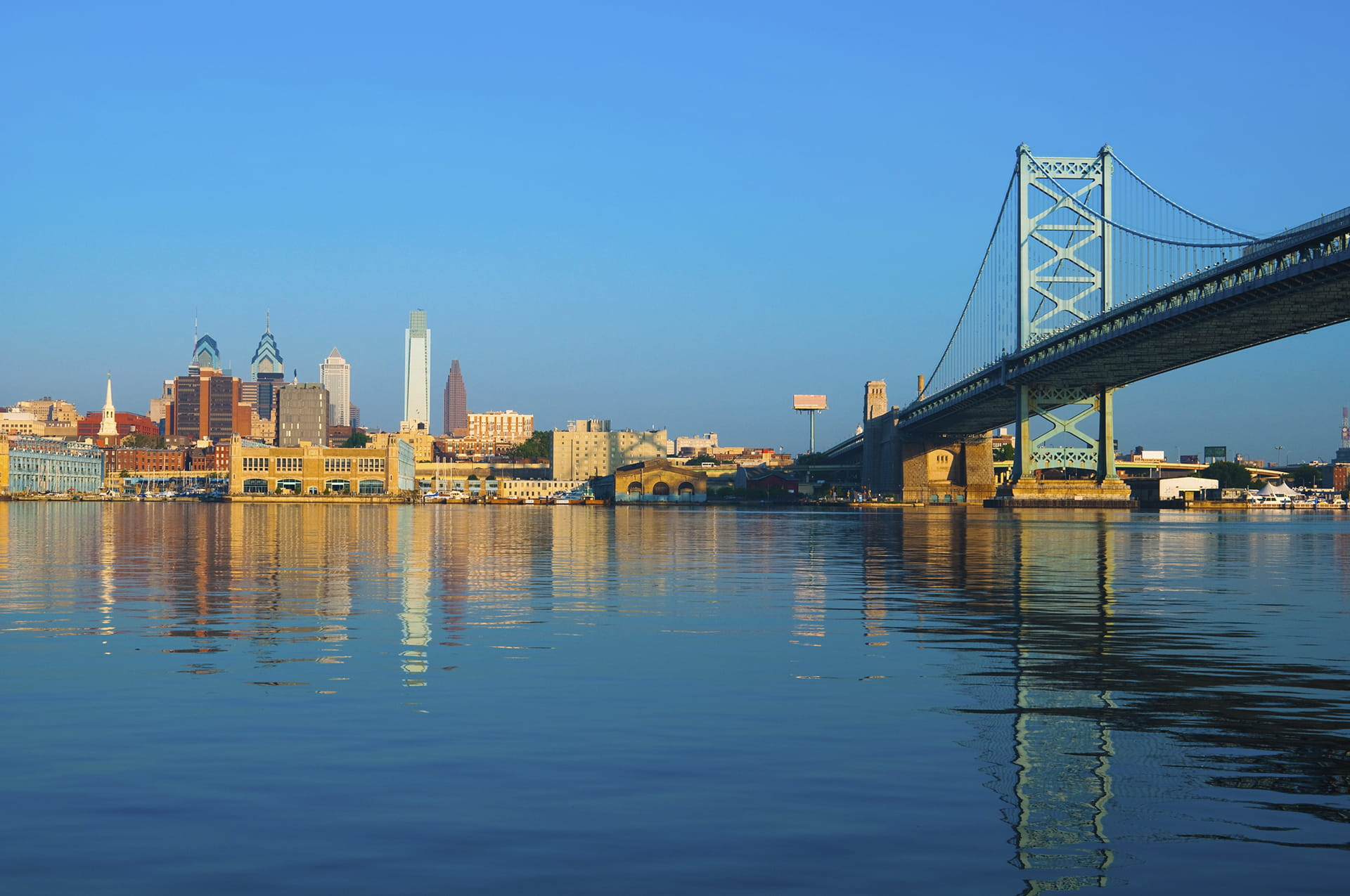 Philadelphia skyline and Ben Franklin Bridge