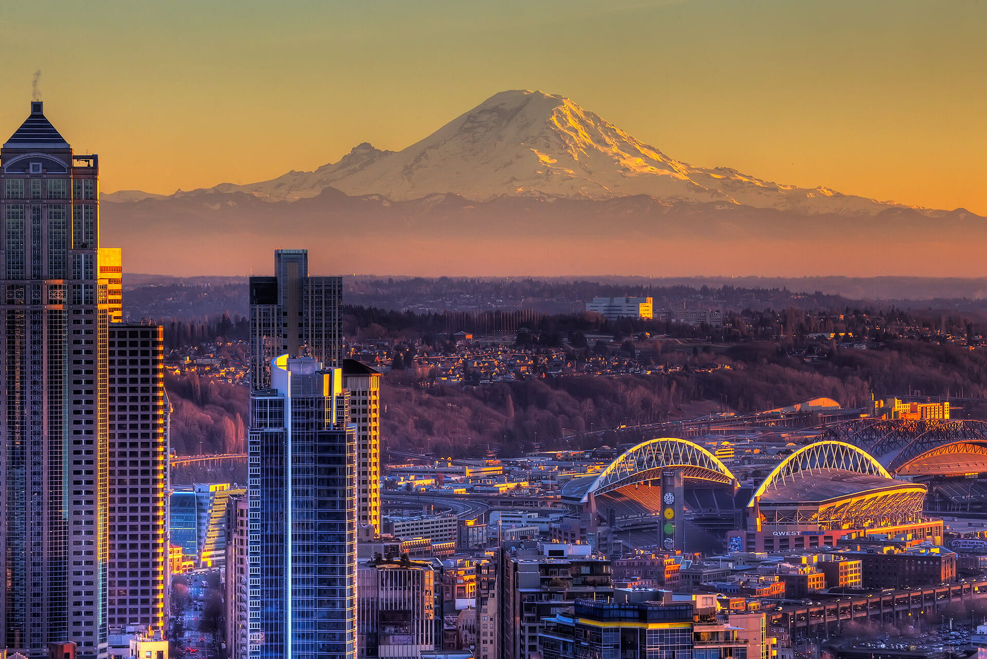 Aerial view of Seattle at Sunset