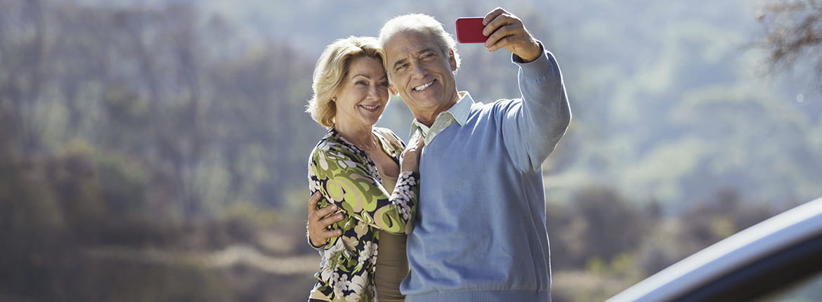A man and a woman taking a picture of themselves.