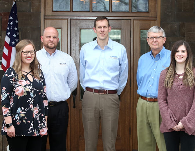 Pictured from left to right: Ashley Rogers, Brad Booth, Jonathan Booth, Gary Booth, Elly Williams