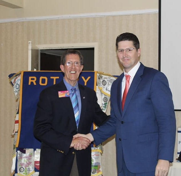 Eric receiving his Double Sustainer Award from Rotary District Governor Oct. 2018