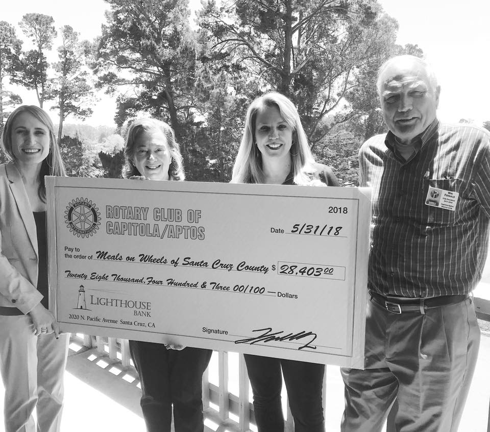 Meals on Wheels of Santa Cruz County check presentation from funds raised at the Club's Major Fundraiser. May 2018