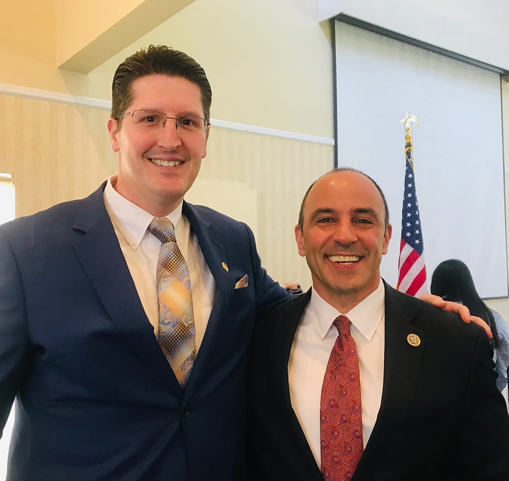 Eric with Congressman Jimmy Panetta. Rep. Panetta came to give a legislative update and agenda for the next year in Congress. May 2018.