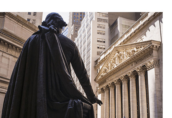 Statue in front of Wall Street