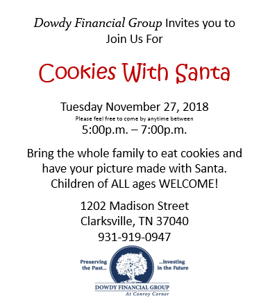 """Cookies With Santa"" event invitation."