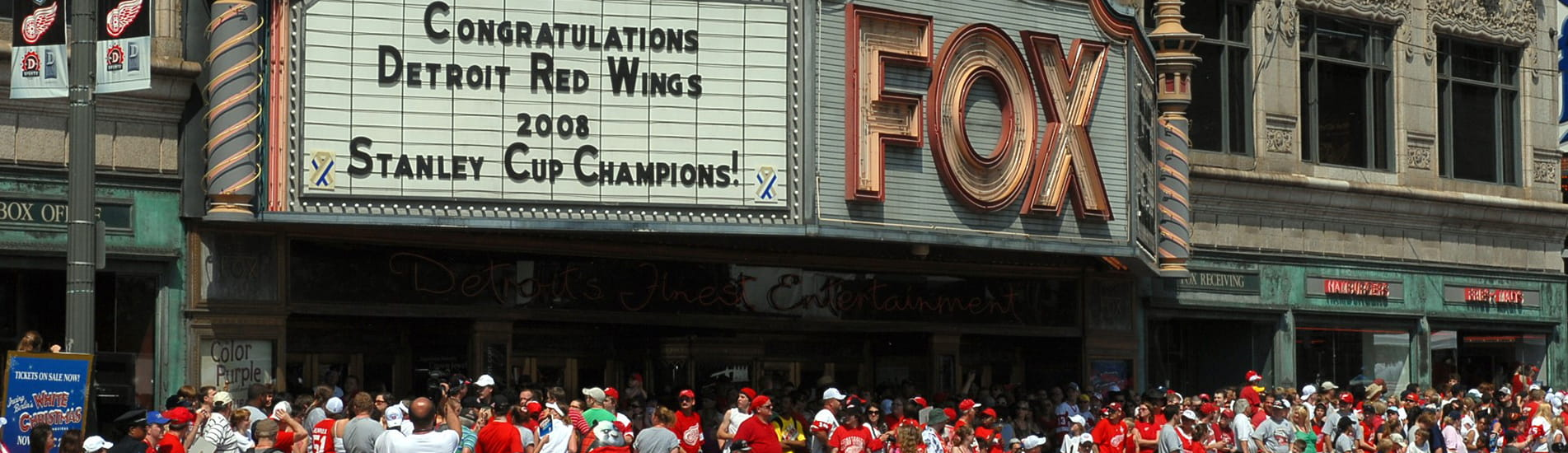 Detroit Red Wings 2008 Stanley Cup Champion celebration in front of the Fox theater.