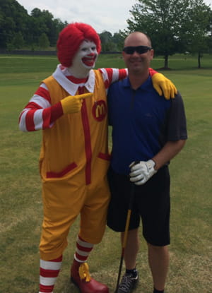 Ronald McDonald and Chris Lynch at the 29th Annual Ronald McDonald House Music City Golf Tournament at The Governors Club.