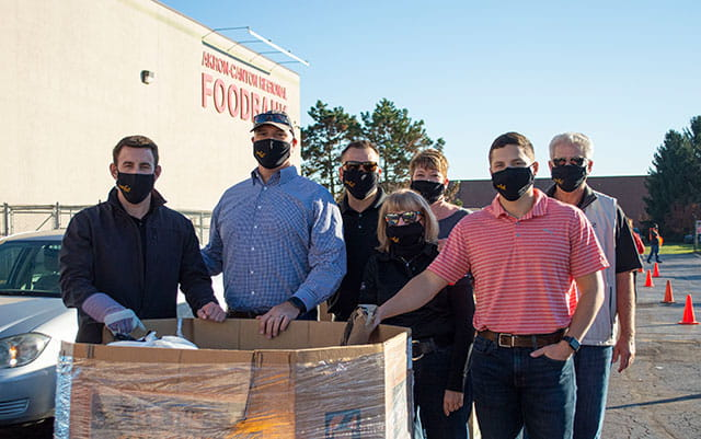 Team in front of food bank