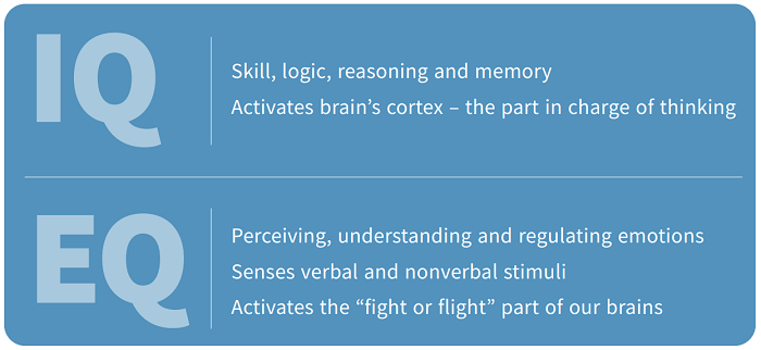 IQ refers to skill, logic, reasoning and memory; EQ relates to perceiving, understanding and regulating emotions.
