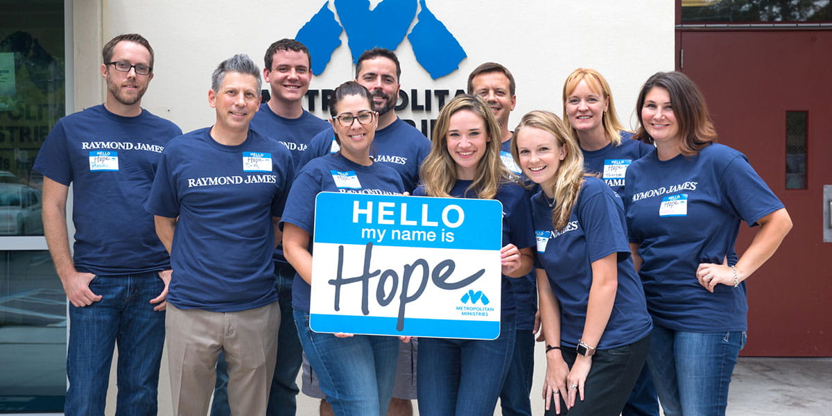 A group from Human Resources volunteered at Metropolitan Ministries