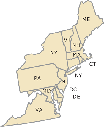 northeast region map