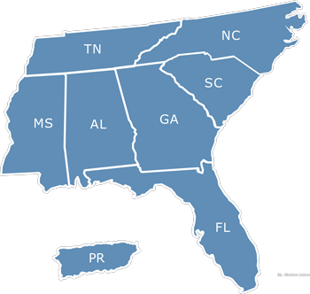 southeast region map